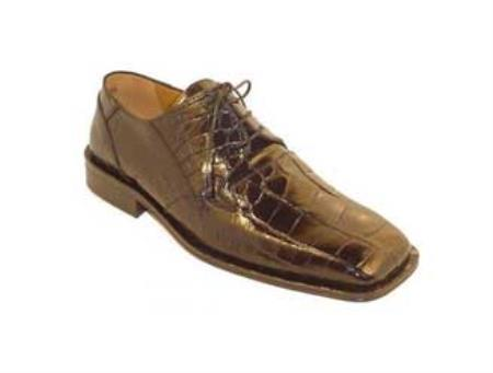 SKU#HY7834 Men's Genuine Alligator Shoes Chocolate