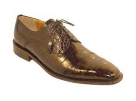 SKU#PK7400 Mens Genuine Alligator Shoes Chocolate