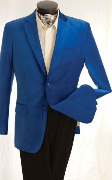 SKU#GY3487 Mens Fashion 2 Button Velvet Jacket Royal $139