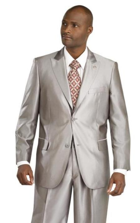 SKU#GN4476 Mens 2 Button Vented Jacket With Pleated Pant Executive Full Cut Suits Taupe