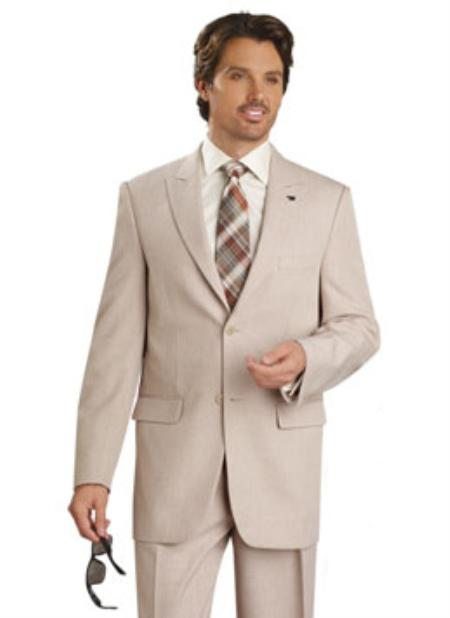 SKU#LS5278 Mens 2 Button Vented Jacket With Pleated Pant Executive Full Cut Suits Tan ~ Beige
