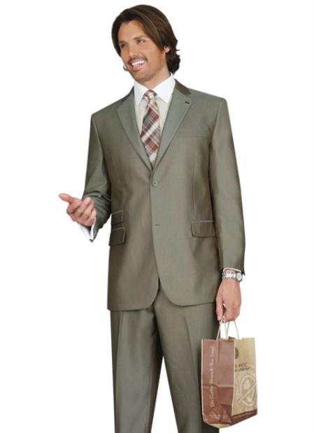 SKU#JS5628 Mens 2 Button Vented Jacket With Pleated Pant Executive Full Cut Suits Sand $139