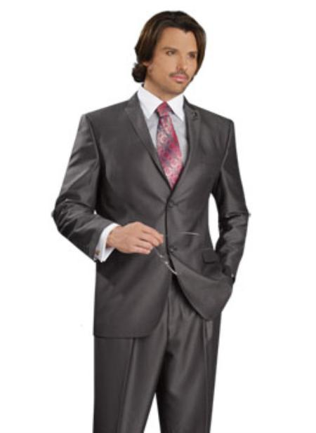 SKU#UE5089 Mens 2 Button Vented Jacket With Pleated Pant Executive Full Cut Suits Charcoal