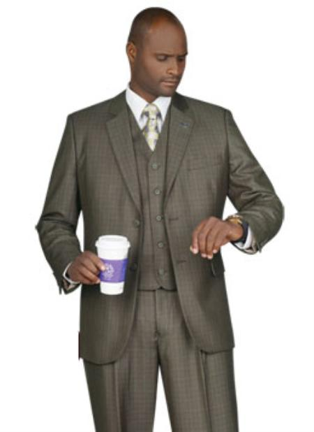 SKU#FY5036 Mens 2 Button Vented Jacket With Pleated Pant Executive Full Cut Suits Olive $139