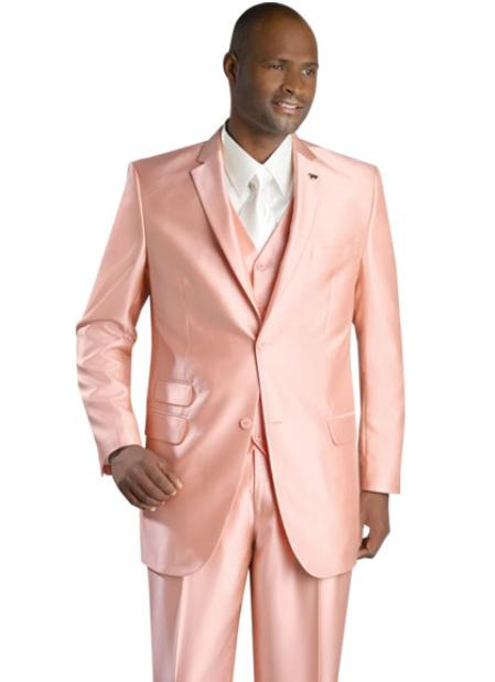 SKU#KF8720 Mens 2 Button Vented Jacket With Pleated Pant Executive Full Cut Suits Peach $139