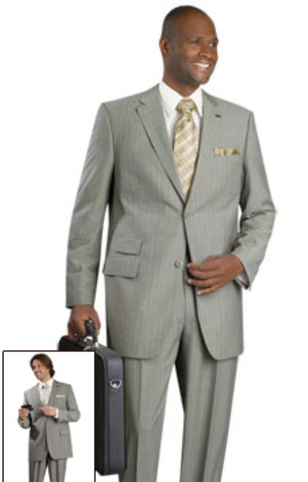 SKU#HT8740 Mens 2 Button Vented Jacket With Pleated Pant Executive Full Cut Suits Olive $139