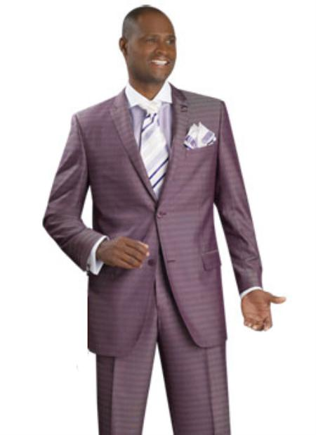 SKU#MH4523 Mens 2 Button Vented Jacket With Pleated Pant Executive Full Cut Suits Grape $139