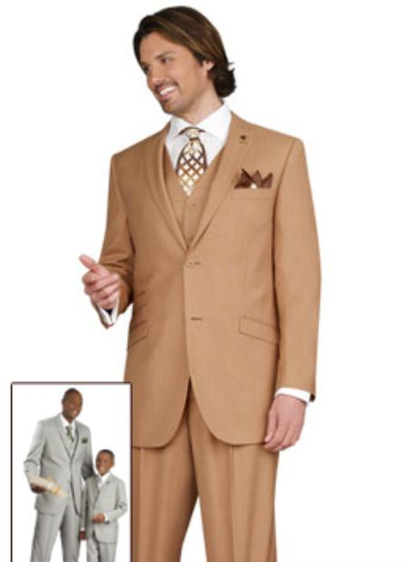 SKU#YG4520 Mens 2 Button Vented Jacket With Pleated Pant Executive Full Cut Suits Camel $139