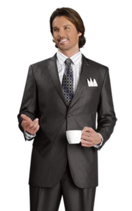 SKU#BQ7820 Mens 2 Button Vented Jacket With Pleated Pant Executive Full Cut Suits Black $139