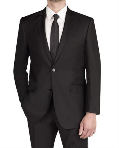SKU#ZR3720 Mens 2 Button Italian Designed Fabric Slim Fit Suit Black $175