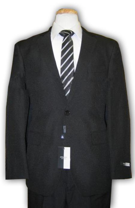 SKU#IBuy283B Cheap quality mens 2 Button Black Discounted affordable clearance sale Cheap Suit Black