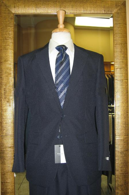 SKU#HT4510 Mens 2 Button Navy Tapered Cut Flat Front Cheap Suit $120