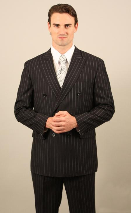 Double Breasted Black With White Pinstripe Suit With Side Vent Jacket Pleated Pants Mens