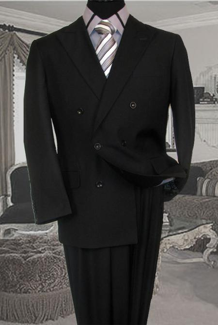 Double Breasted Solid Charcoal Suit Side Vent Jacket Pleated Pant Mens