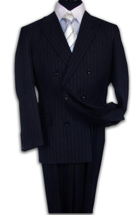 1940s Mens Suits | Gangster, Mobster, Zoot Suits Double Breasted Navy Blue Suit Side Vent Jacket Pleated Pant Mens $169.00 AT vintagedancer.com