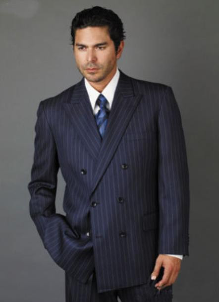 1940s Men's Suit History and Styling Tips Double Breasted Navy Blue Pinstripe Suit With Side Vent Jacket Pleated Pant Mens $225.00 AT vintagedancer.com