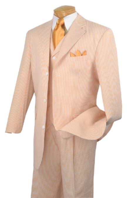SKU#VG9400 Mens 3 Button 3 Piece Vested Peach Seersucker Suit with Pleated Pants $175
