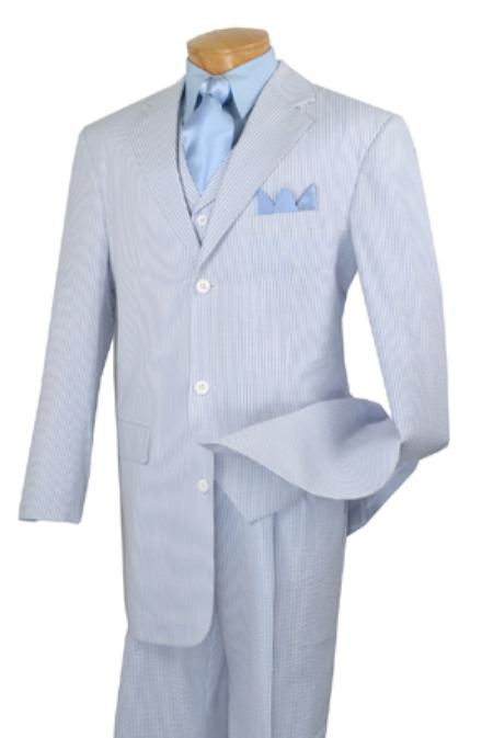 SKU#VF4244 Mens 3 Piece Vested Baby Blue Seersucker Suit with Pleated Pants $175