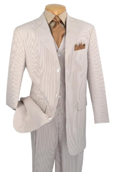 SKU#JG8467 Mens 3 Piece Vested Sage Seersucker Suit with Pleated Pants $175