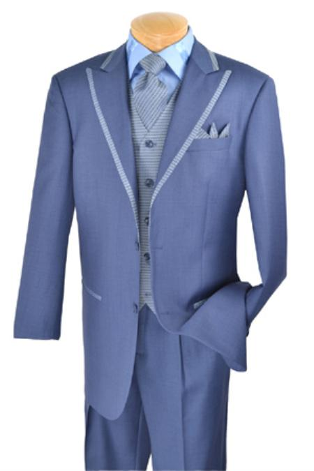 SKU#JR9320 Mens 2 Button Single Breasted Wool three piece suit Blue $225