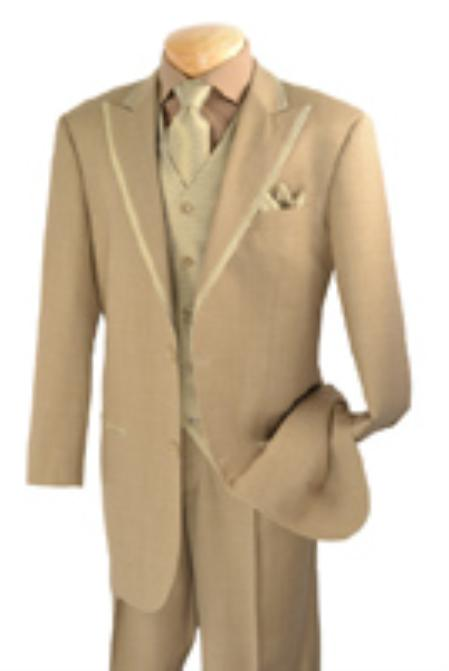 SKU#FT4512 Mens 2 Button Single Breasted Wool three piece suit Wheat $225