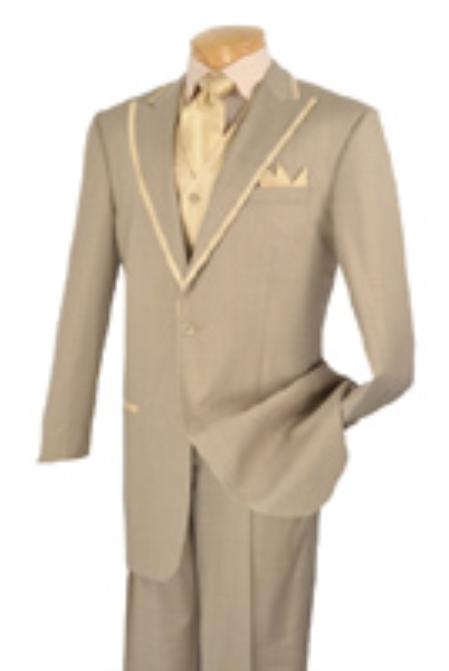 SKU#DY6720 Mens 2 Button Single Breasted Wool three piece suit Beige $225
