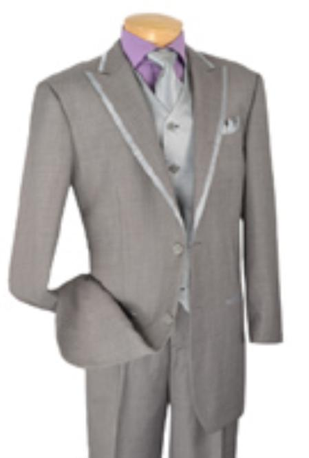 SKU#YS8739 Mens 2 Button Single Breasted Wool Grey three piece suit $225