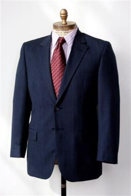 SKU#SH6733 Men's 2 Button Single Breasted Wool Suit Navy $225