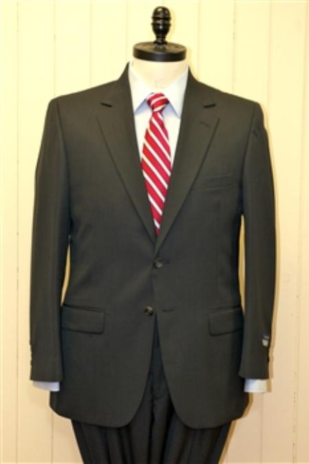 SKU#BH4520 Men's 2 Button Single Breasted Wool Suit Charcoal $225