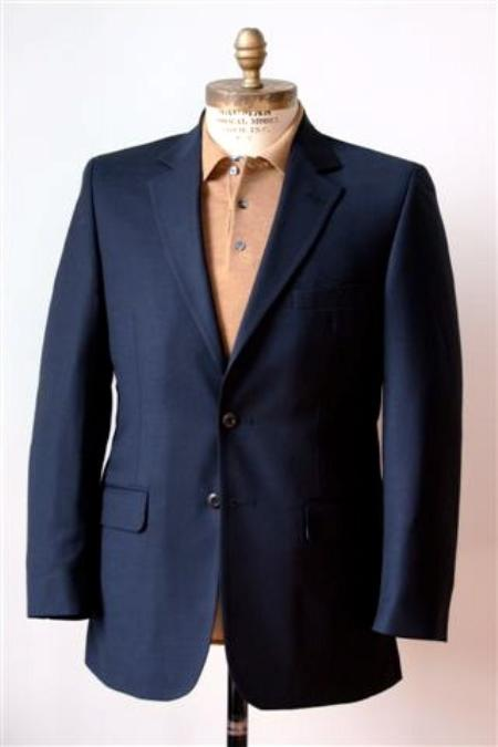 SKU#EX52977 Men's 2 Button Single Breasted Wool Suit Navy $225