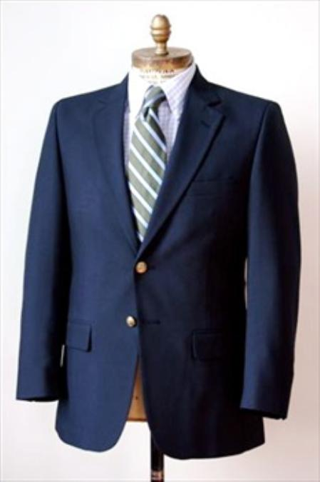 SKU#JH5422 Men's 2 Button Single Breasted Wool Suit Navy $225