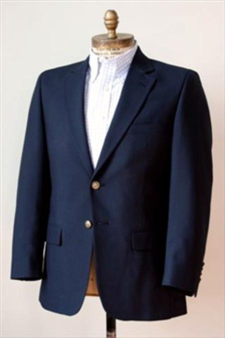 SKU#PX3829 Men's 2 Button Single Breasted Wool Suit Navy $225
