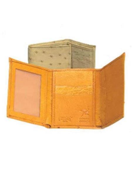 SKU#FJ4527 Ferrini Full Quill Ostrich Trifold Wallet $175