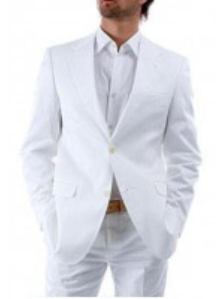 MensUSA.com Mens Suit 2 Button White Suit White Shirt(Exchange only policy) at Sears.com
