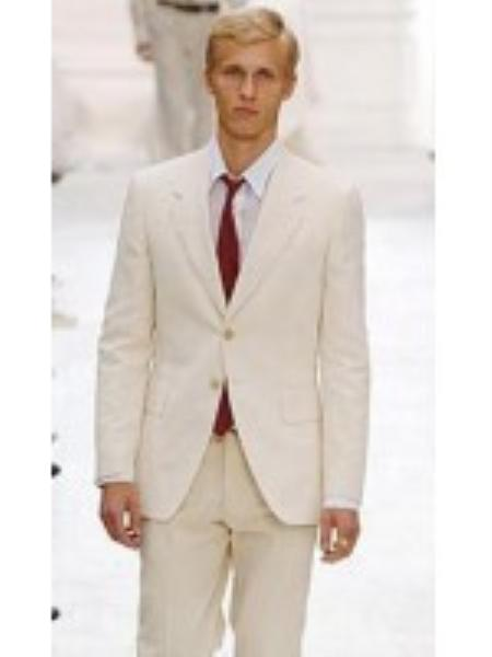 SKU#PJ6723 Mens Suit 2-Button Ivory Off White Jacket and Pants