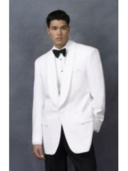 1940s Men's Suit History and Styling Tips Mens Dinner Jacket in White Shawl Collar 1 Button  Free Bowtie $119.00 AT vintagedancer.com