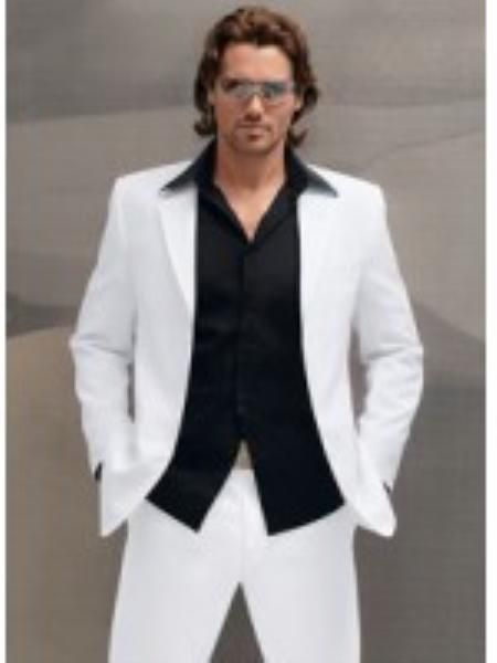 Men's Vintage Style Suits, Classic Suits Mens 1 Italian Made by Supers High Twist Wool Suit White $149.00 AT vintagedancer.com