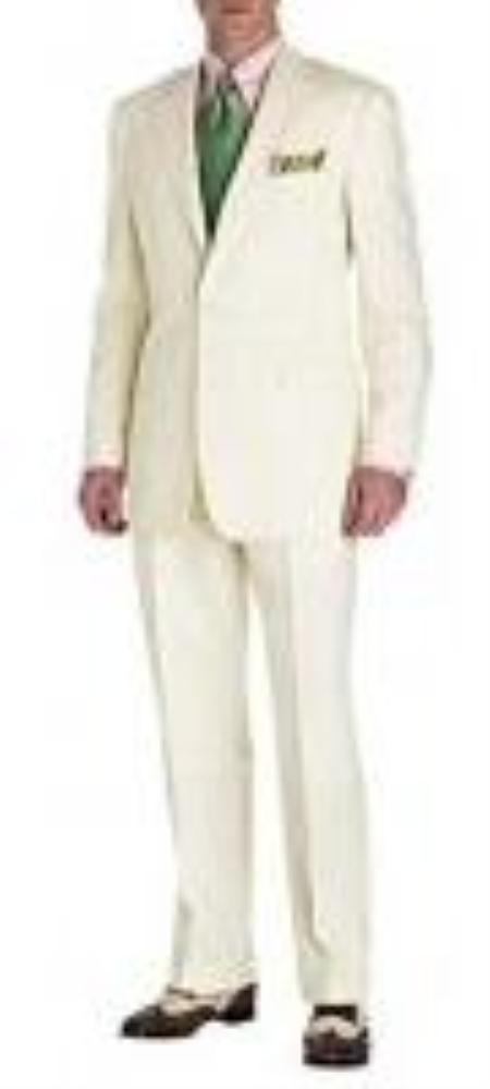 Men's Vintage Style Suits, Classic Suits Mens Suit Ivory 2Button Style Perfect For Wedding Jacket and Pants $159.00 AT vintagedancer.com