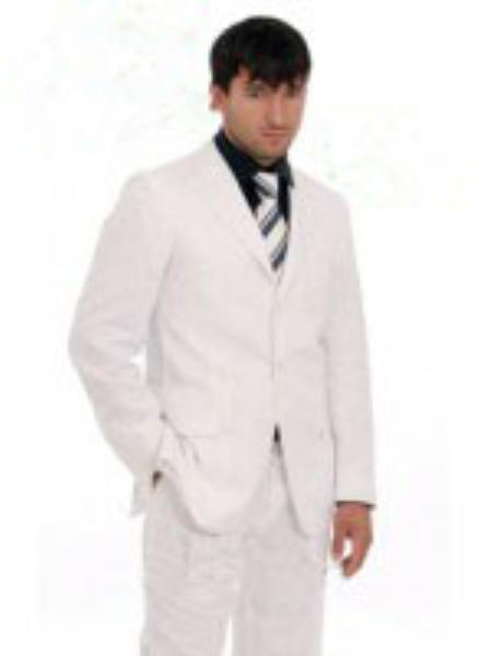 Mens 3Button White Suit Pearl Suit   Black Shirt   Matching Tie ...