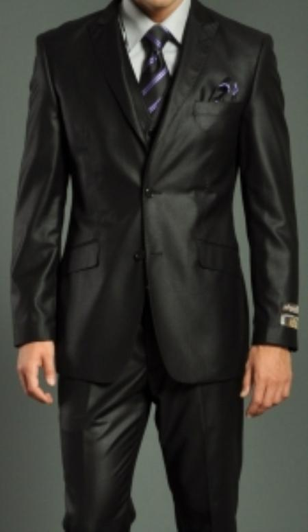 SKU#RF7344 Mens Two Button Vested Black Slim Fit Suit $189