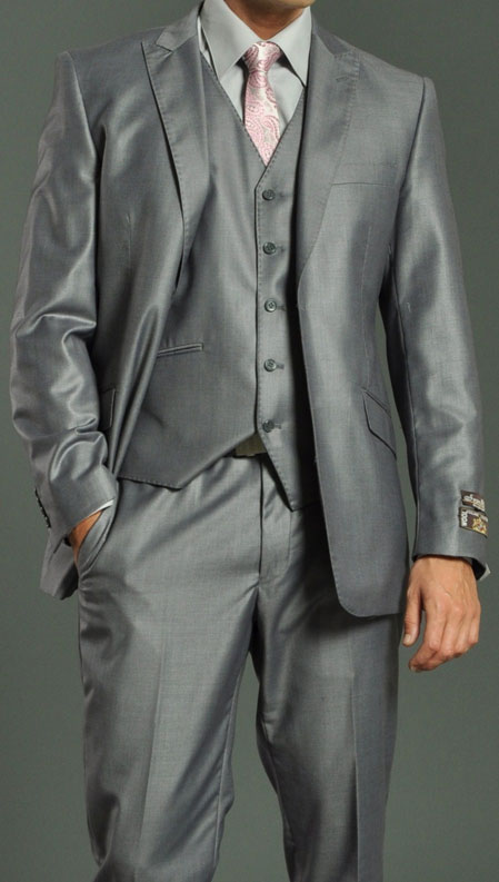 SKU#HB4098 Mens Two Button Vested Shiny Flashy Metallic Light Grey Slim Fit Suit $189