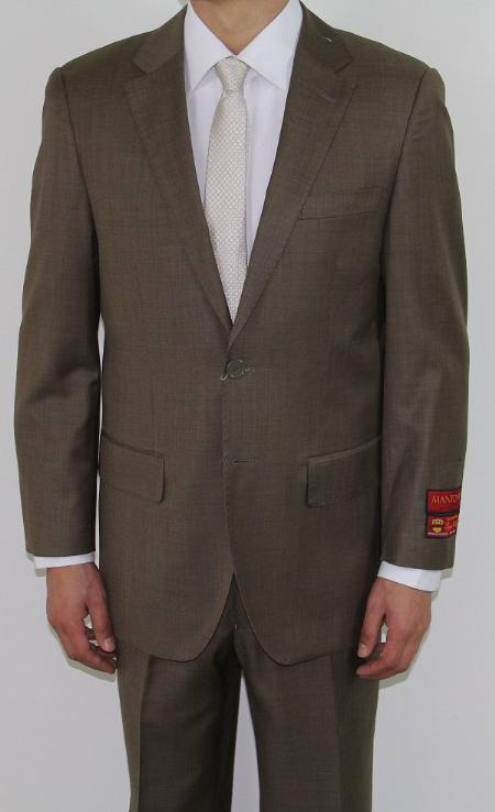 SKU#JF4520 Mens Two Button Taupe Wool Suit $189