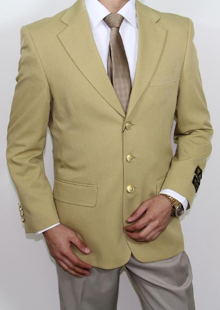 SKU#GU4008 Mens Three Button Super 120s Gold Blazer $159