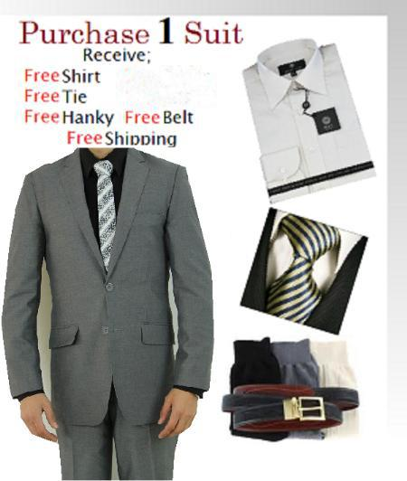 SKU#PH8956 Two Button Light Grey Suit Slim Fit- Dress Shirt, Free Tie & Hankie Package