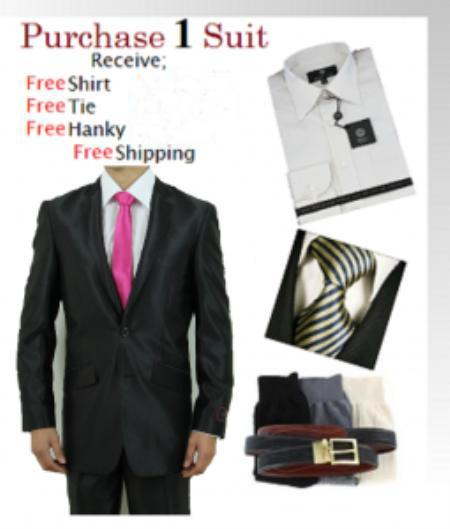 SKU#UH4100 Mens 2 Button Black Shark Skin Suit SHINNY - Dress Shirt, Free Tie & Hankie Package