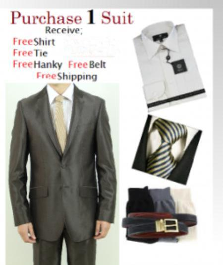 SKU#VT7856 Mens Two Button Brown Slim Fit Teakwave Suit-Dress Shirt, Free Tie & Hankie Package $139