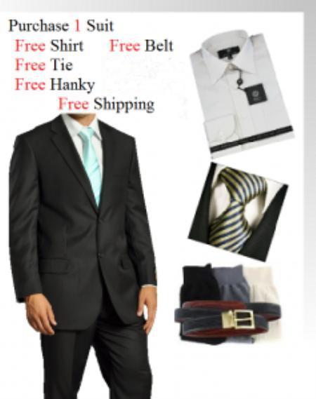 SKU#GF6734 Mens Two Button Wool Black Suit- Dress Shirt, Free Tie & Hankie Package