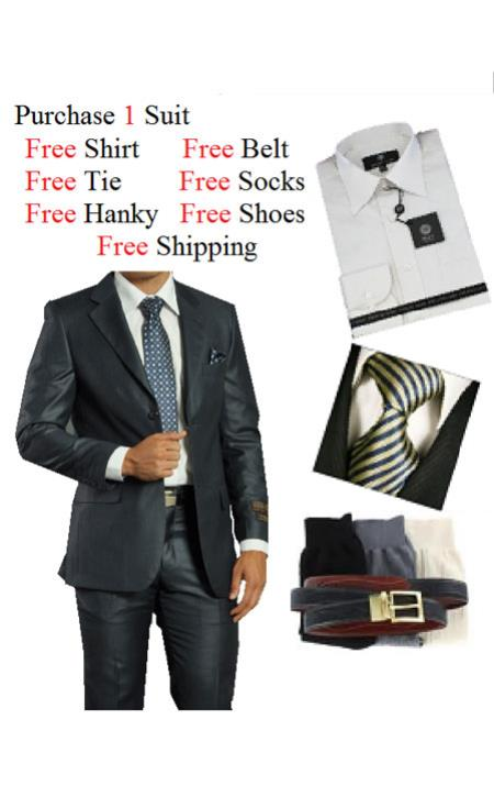 SKU#JN7490 Mens 2 Piece Two Button Navy Suit- Dress Shirt, Free Tie & Hankie Package