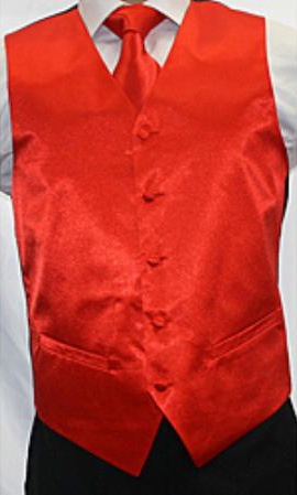 SKU#FY6290 Mens Shiny Red Microfiber 3-piece Vest $75