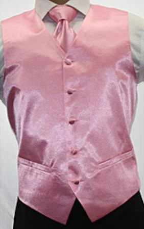 SKU#JK5200 Men's Shiny Pink Microfiber 3-piece Vest